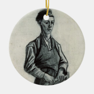 El herrero joven, 1882 (tiza y lápiz negros adorno redondo de cerámica