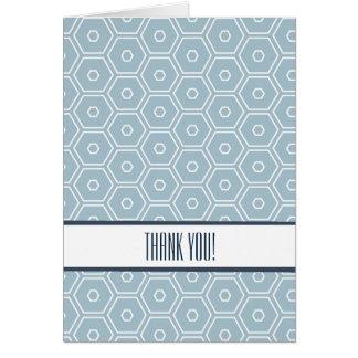 El hexágono azul elegante geométrico le agradece tarjeta pequeña