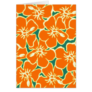 El hibisco anaranjado florece Luau hawaiano Tarjeta De Felicitación