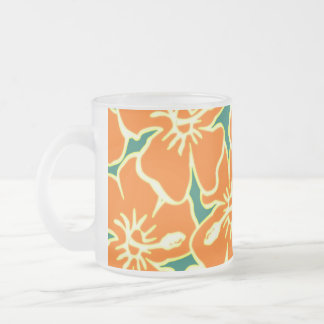 El hibisco anaranjado florece Luau hawaiano Taza Cristal Mate