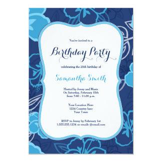 El hibisco hawaiano azul florece la invitación del invitación 12,7 x 17,8 cm