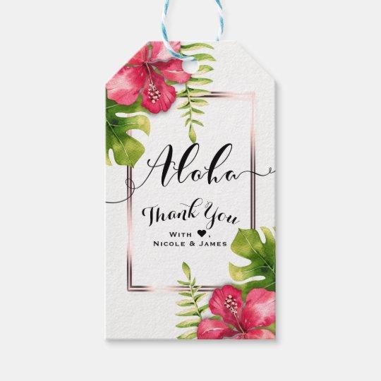 El hibisco tropical blanco sale de favor elegante etiquetas para regalos