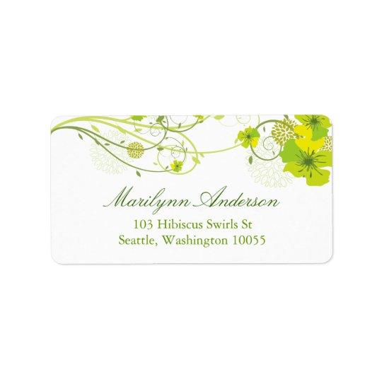 El hibisco verde floral remolina las etiquetas etiquetas de dirección
