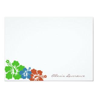 El hibisco verde tropical florece los efectos de invitación 11,4 x 15,8 cm