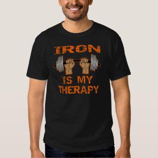 El hierro es mi terapia - levantamiento de pesas camiseta