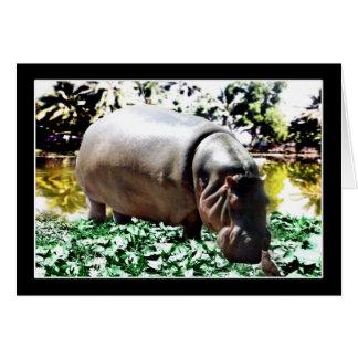 El hipopótamo y el pájaro tarjeta de felicitación