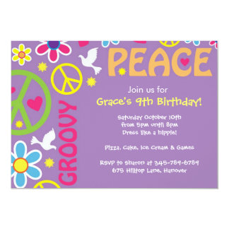 El Hippie, signo de la paz, tema de los años 60, Invitación 12,7 X 17,8 Cm