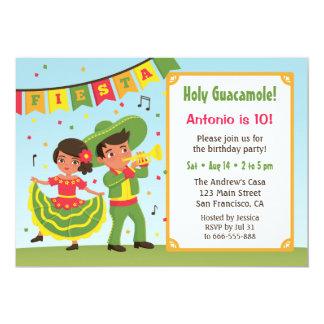 El hispanico mexicano lindo de la fiesta embroma a invitación 12,7 x 17,8 cm