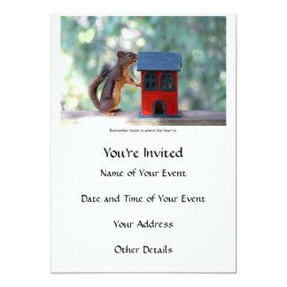 El hogar es donde está ardilla el corazón invitación 12,7 x 17,8 cm
