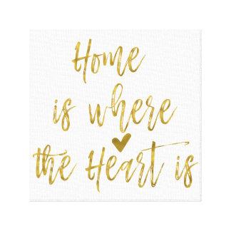 El hogar es donde está cita el corazón inspirada lienzo