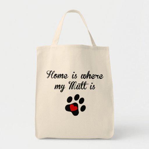 El hogar es donde está mi Mutt Bolsa Lienzo
