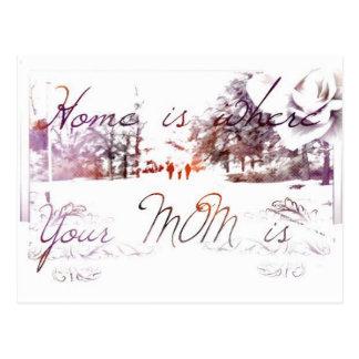 El hogar es donde está su mamá postal