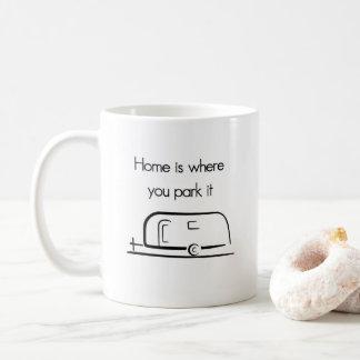 El hogar es donde usted lo parquea taza del