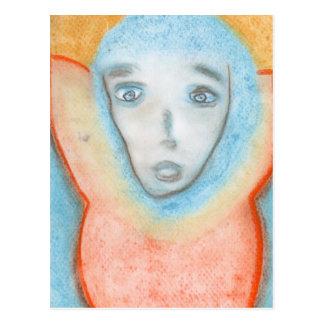 El hombre colgante, arte, dibujo de tizas postal