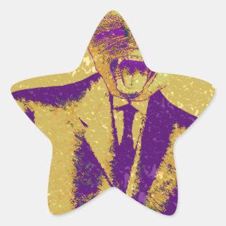 El hombre de negocios extraño pegatina en forma de estrella