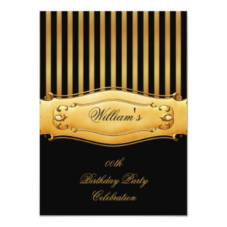 El hombre del oro de la raya de cumpleaños de los invitación 11,4 x 15,8 cm