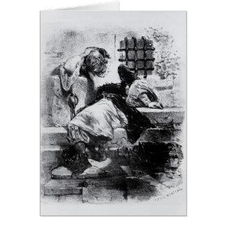 El hombre en la máscara del hierro en su prisión tarjeta de felicitación
