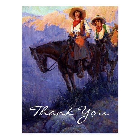 El hombre y la mujer de Anderson en caballos Postal