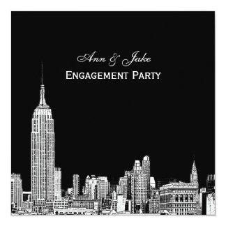 El horizonte 01 Etchd DIY BG de NYC colorea el Invitación 13,3 Cm X 13,3cm