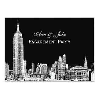 El horizonte 01 Etchd DIY BG de NYC colorea el Invitación 12,7 X 17,8 Cm