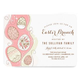 El huevo de Pascua rosado adorna la invitación del Invitación 12,7 X 17,8 Cm