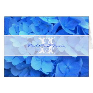 El Hydrangea azul del monograma le agradece Tarjeta Pequeña