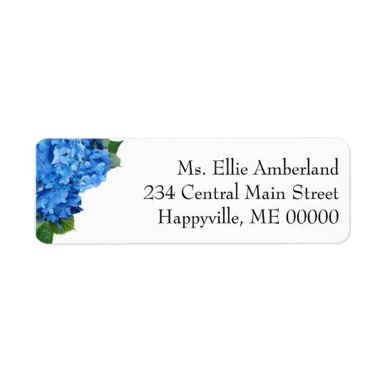 El Hydrangea azul florece remite flaco Etiqueta De Remite