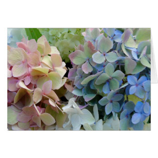 El Hydrangea bonito florece la tarjeta de nota en