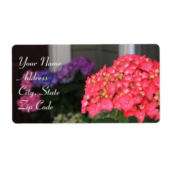 El Hydrangea rosado florece etiquetas de dirección