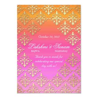 El indio invita al oro del naranja del rosa del invitación 11,4 x 15,8 cm