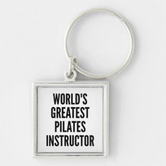 El instructor más grande de Pilates de los mundos Llavero Cuadrado Plateado