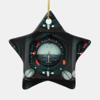 El instrumento del piloto adorno navideño de cerámica en forma de estrella