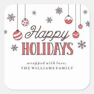 El invierno adorna etiquetas del regalo de Navidad Pegatina Cuadrada