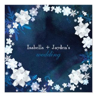 El invierno brilla boda floral de la guirnalda invitación 13,3 cm x 13,3cm