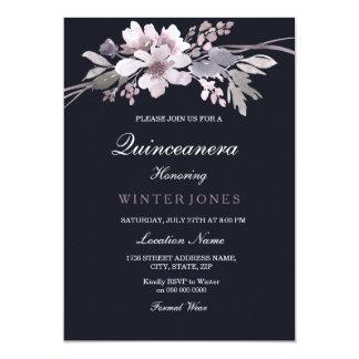 El invierno elegante Quinceanera floral de los Invitación 12,7 X 17,8 Cm