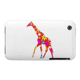 El iphone floral retro enrrollado 3G de la jirafa iPhone 3 Case-Mate Protector