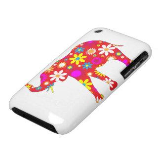 El iphone floral retro enrrollado 3G del elefante iPhone 3 Funda