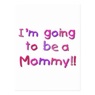 El ir a ser una mamá - rosa y púrpura postales
