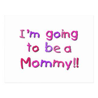 El ir a ser una mamá - rosa y púrpura tarjetas postales