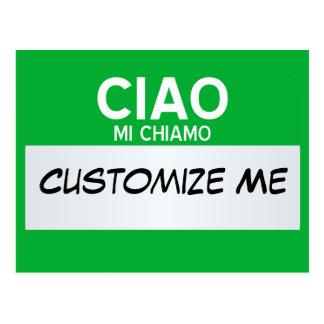 El italiano hola mi nombre es… personalizable postal