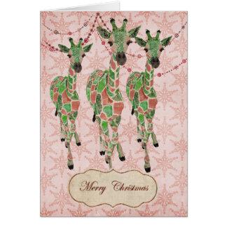 El jade del vintage se ruboriza tarjeta de Navidad