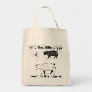El jamón del mercado parte el tote del bolsa tela para la compra