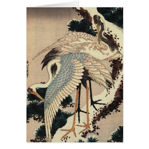 El japonés Cranes la tarjeta del día de fiesta