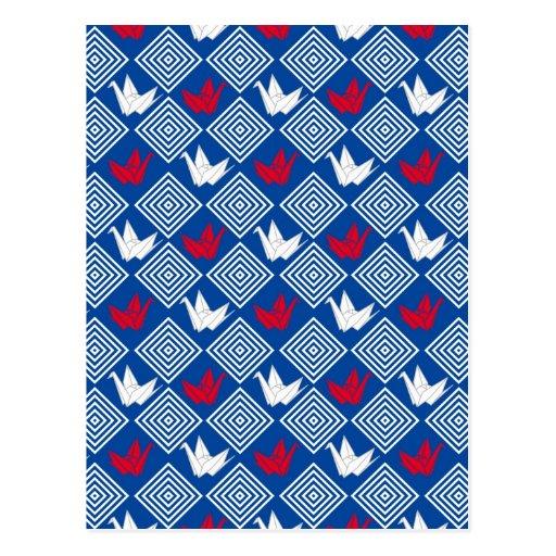 El japonés Origami Cranes el modelo (Orizuru) Postales
