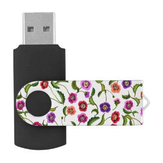 El jardín colorido de la amapola florece memoria memoria USB
