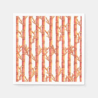 El jardín de bambú anaranjado servilleta de papel