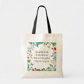 El jardín de dios inspirado del poema floral bolso de tela