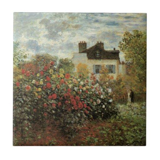 El jardín de Monet en el impresionismo del vintage Azulejo