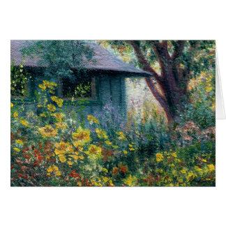 """El """"jardín encanta"""" la tarjeta de nota en blanco"""