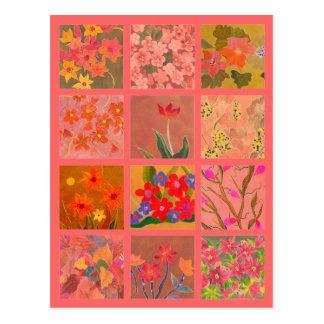 El jardín florece arte miniatura en el rosa postal
